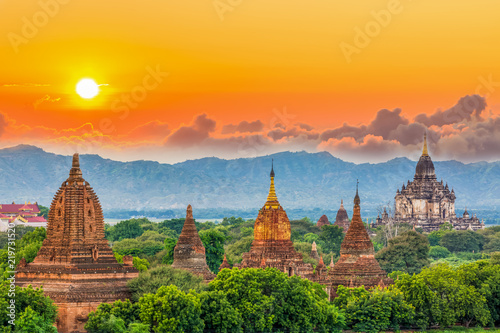 Ancient temple in Bagan after sunset, Myanmar temples in the Bagan Archaeological Zone, Myanmar Wallpaper Mural