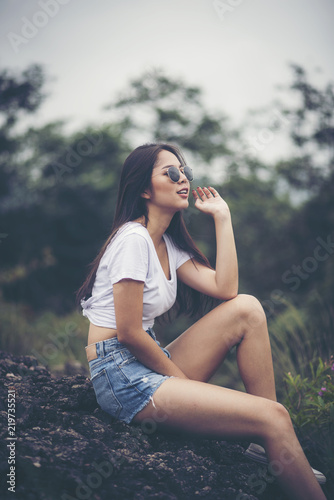 Portrait Of Young Beautiful Girl Woman Happy With Nature Against Background Of Mountain And Forest Nature Scene Buy This Stock Photo And Explore Similar Images At Adobe Stock Adobe Stock