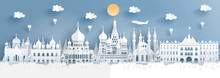 Panorama Travel Poster Of Top World Famous Symbol Of Russia In Paper Cut Style Vector Illustration.