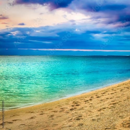 Seaview at sunset. Amazing landscape. Beautiful sandy beach