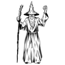 Fantasy Wizard Isolated On White