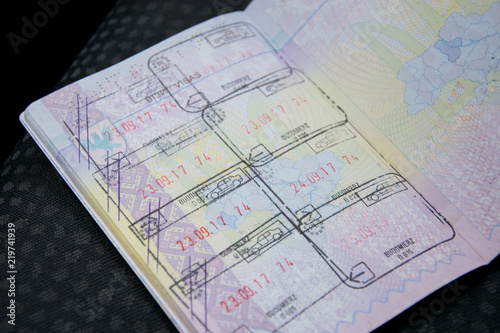 Fotografering  The page of the passport with crossed seals.