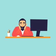 Sad Man Sitting Near Computer, Office Life.  Flat Design Vector Illustration.