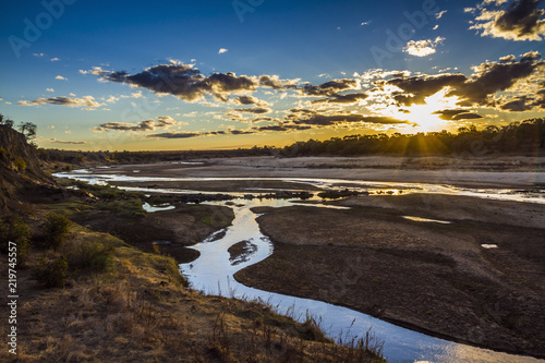 Foto op Canvas Olifant Sunset in Olifant river landscape in Kruger National park, South Africa