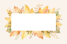 Watercolor Autumn Banner With ...