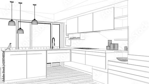 Interior Design Project Black And White Ink Sketch Architecture New Blueprint Interior Design