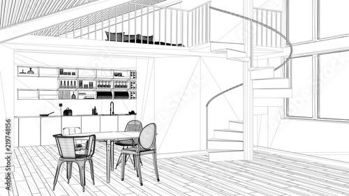 Interior Design Project Black And White Ink Sketch Architecture Cool Blueprint Interior Design