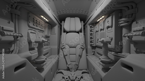Science fiction pilot's seat in the cockpit  Futuristic spaceship