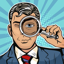 The Man Is A Detective Looking Through Magnifying Glass Search. Vector Illustration In Pop Art Retro Comics Style