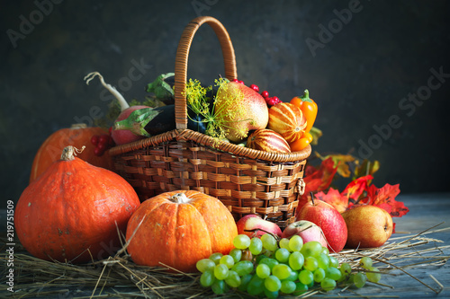 Canvas Prints Autumn Happy Thanksgiving Day background, wooden table decorated with Pumpkins, Maize, fruits and autumn leaves. Harvest festival. Selective focus. Horizontal. Background with copy space.