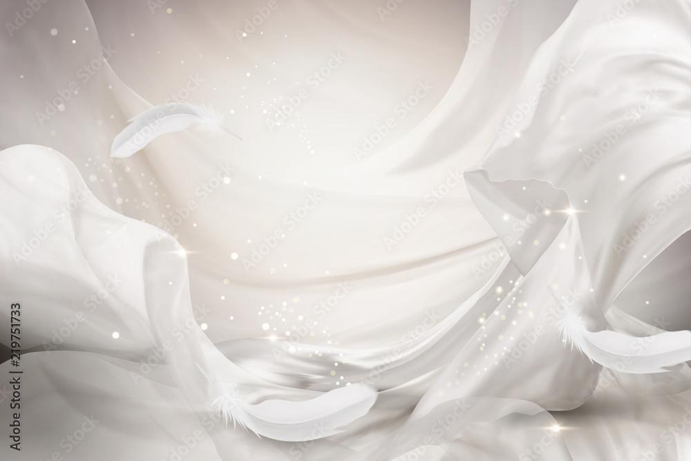Fotografie, Obraz  Pearl white chiffon design element