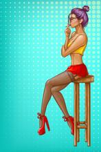 Vector Pop Art Girl Is Sitting...