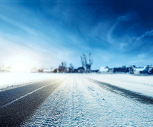 Winter Road Of Snow And Frost And Blue Sky