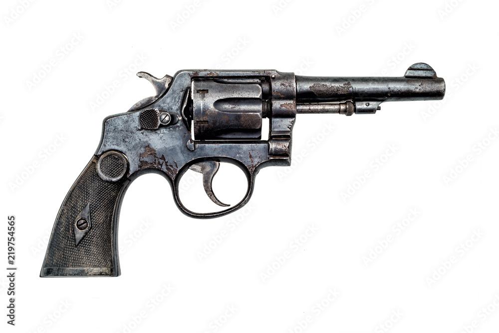 Fototapeta old military police rusty revolver handgun on white background