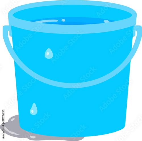 Fotografie, Tablou 水が入った青色のバケツ