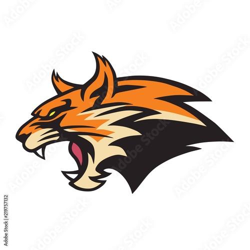 Vászonkép Angry Lynx Wildcat Logo Mascot Vector Illustration