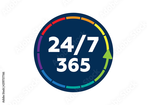 Fotografija  24 on 7 timing badge symbol. Time 365 vector sign