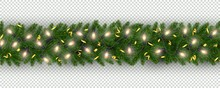 New Year Border Of Realistic Branches Of Christmas Tree, Garland Light Bulbs