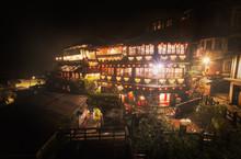 Wet Night Scene Of Red Light Village, Jiufen In Taiwan
