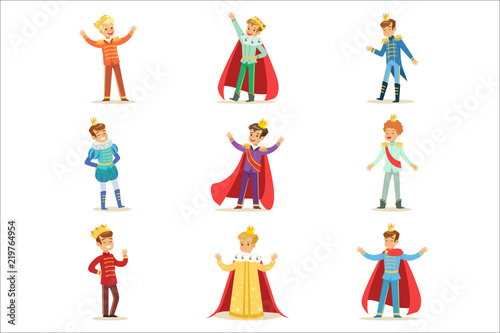 Obraz na plátně Little Boys In Prince Costume With Crown And Mantle Set Of Cute Kids Dressed As