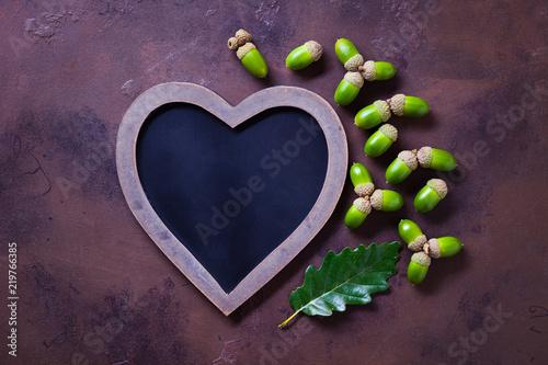acorns and blackboard