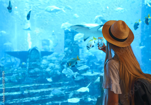 obraz dibond Sillouette of the woman taking picture in large aquarium