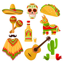 Mexican Holiday Symbols Set, Sombrero Hat, Sugar Skull, Taco, Maracas, Pinata, Tequila Bottle, Poncho, Acoustic Guitar Vector Illustrations On A White Background