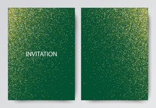 Two Template Design Of Invitation With Gold Sequin.