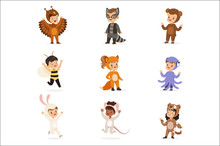 Kinds In Animal Costume Disguise Happy And Ready For Halloween Masquerade Party Set Of Cute Disguised Infants