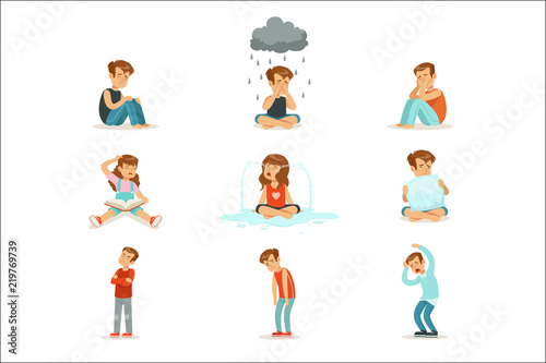 Children negative emotions, expression of different moods Poster Mural XXL