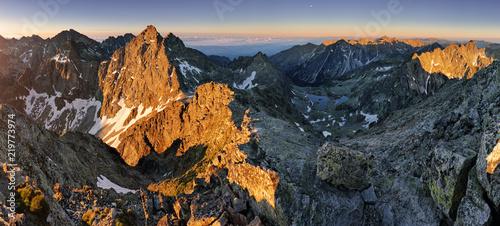 Deurstickers Chocoladebruin Panorama landscape of mountain at sunset, Slovakia.