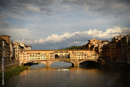 Wall Murals Florence Sunset at Ponte Vecchio. Florence, Italy