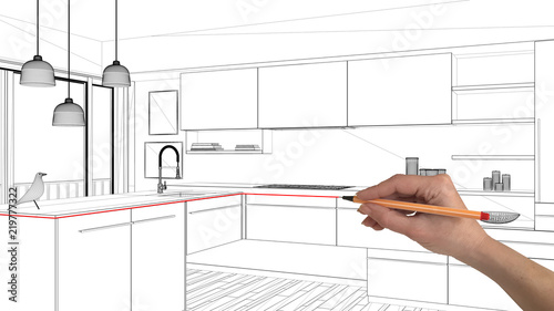 Interior Design Project Concept Hand Drawing Custom Architecture Black And White Ink Sketch Blueprint Showing Modern Minimalist Kitchen Buy This Stock Photo And Explore Similar Images At Adobe Stock Adobe Stock