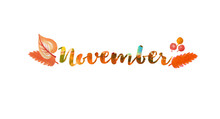 November Word Text. Lettering ...