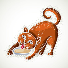 Cute Cartoon Doodle Red Cat Vector Illustration, Nice Pet Drinking Milk From Plate.