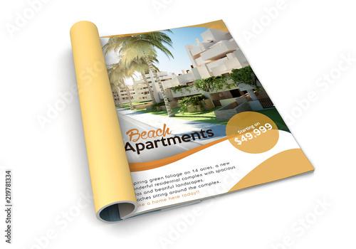 Photo  isolated magazine beach apartments advertising