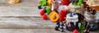 Leinwanddruck Bild - Assortment of seasonal berries and fruits jams in jars