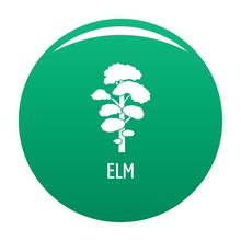 Elm Tree Icon. Simple Illustration Of Elm Tree Vector Icon For Any Design Green