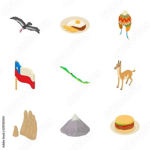 Fotografie, Tablou  Continent icons set