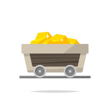 Gold Mining Cart Vector Isolated