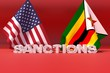 Western sanctions against Zimbabwe. 3D illustration.