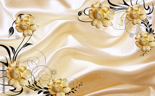 Fototapety na wymiar   3d-golden-jewellery-flower-on-fabric-background-wallpaper-for-walls