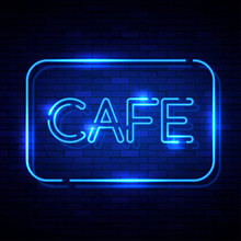 Cafe Neon Sign On The Brick Wall. Vector Illustration