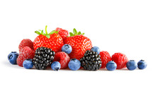 Fresh Sweet Berries On The Whi...