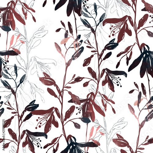 Fototapety, obrazy: imprints abstract dark meadow herbs and flowers mix repeat seamless pattern. digital hand drawn picture with watercolour