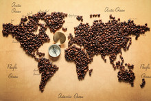 World Map Made Of Roasted Coff...
