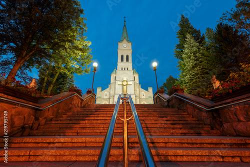 Church of the Holy Family in Zakopane at night, Poland