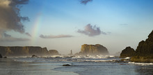 Sunrise With Rainbow On Bandon Oregon Coast