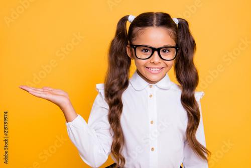 Close up portrait of intelligent, lovely, bunette girl look at