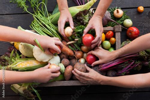 Foto op Plexiglas Groenten Organic farming harvest, fresh autumn dirt, root food.